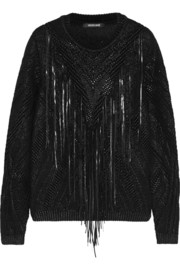 Roberto Cavalli Leather-fringed knitted coated cotton-blend sweater