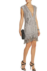 Roberto Cavalli Embellished fringed silk mini dress