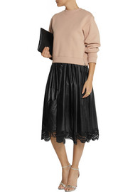 Christopher Kane Lace-trimmed shell midi skirt