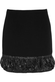 Shell-trimmed wool-crepe mini skirt