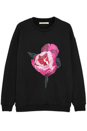 Christopher Kane Peony-embroidered cotton-blend sweatshirt