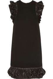 Christopher Kane Ruched shell-trimmed crepe mini dress