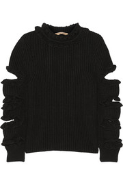 Christopher Kane Cutout ruffled cashmere sweater