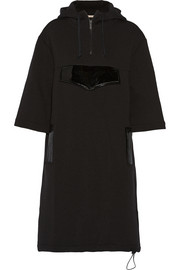 Patent leather-trimmed neoprene hooded dress