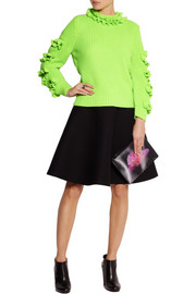 Christopher Kane Cutout ruffled neon cashmere sweater
