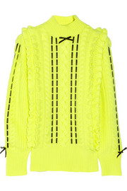 Christopher Kane Silk-trimmed cashmere turtleneck sweater