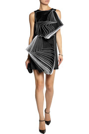 Christopher Kane Layered silk organza-paneled satin mini dress