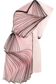 One-shoulder layered silk organza-paneled satin mini dress