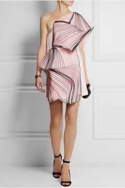 Christopher Kane One-shoulder layered silk organza-paneled satin mini dress