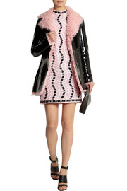 Christopher Kane Patent-leather and shearling coat