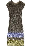 Oscar de la Renta Sequin-sprayed dress