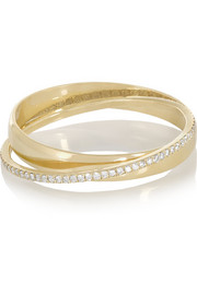 18-karat gold diamond interlinked rings