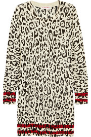 See by Chloé Leopard-intarsia wool mini dress