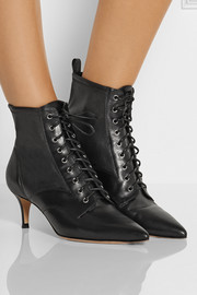 Gianvito Rossi Stretch-paneled leather ankle boots
