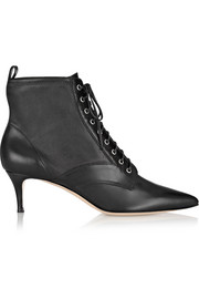 Stretch-paneled leather ankle boots