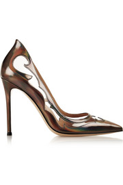 Gianvito Rossi PVC-paneled mirrored-leather pumps