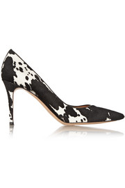 Animal-print calf hair pumps
