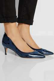 Gianvito Rossi Satin-paneled leather pumps