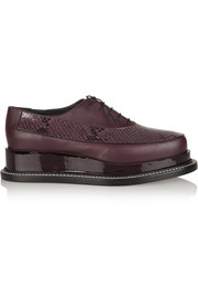 Jil Sander Snake-effect leather platform brogues