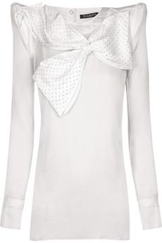 Balmain|Bow-embellished silk blouse|NET-A-PORTER.COM :  netaportercom bowembellished silk blouse designer fashion balmain