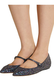 Hermione glitter-finished leather point-toe flats