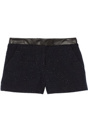 Nicole leather-trimmed metallic bouclé shorts