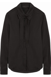Karl Lagerfeld Karly pussy-bow stretch cotton-blend shirt