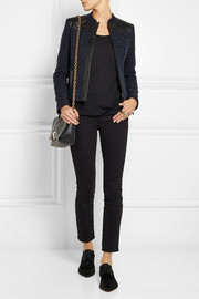 Karl Lagerfeld Nicole leather-paneled cotton-blend bouclé jacket