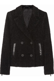 Karl Lagerfeld Hadley leather-trimmed bouclé peacoat