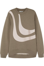 Acne Studios Beta satin-appliquéd cotton-blend fleece sweatshirt