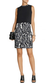 Proenza Schouler Flocked moiré-jacquard and crepe mini dress