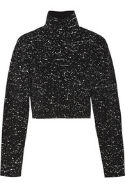 Proenza Schouler Paint-splattered cropped tech-jersey sweater