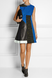 Proenza Schouler Paneled leather and textured-crepe mini dress