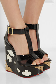 Charlotte Olympia Jasmine patent-leather and mother-of-pearl wedge sandals