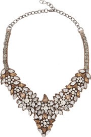 Valentino Glam Flowers silver-tone crystal necklace