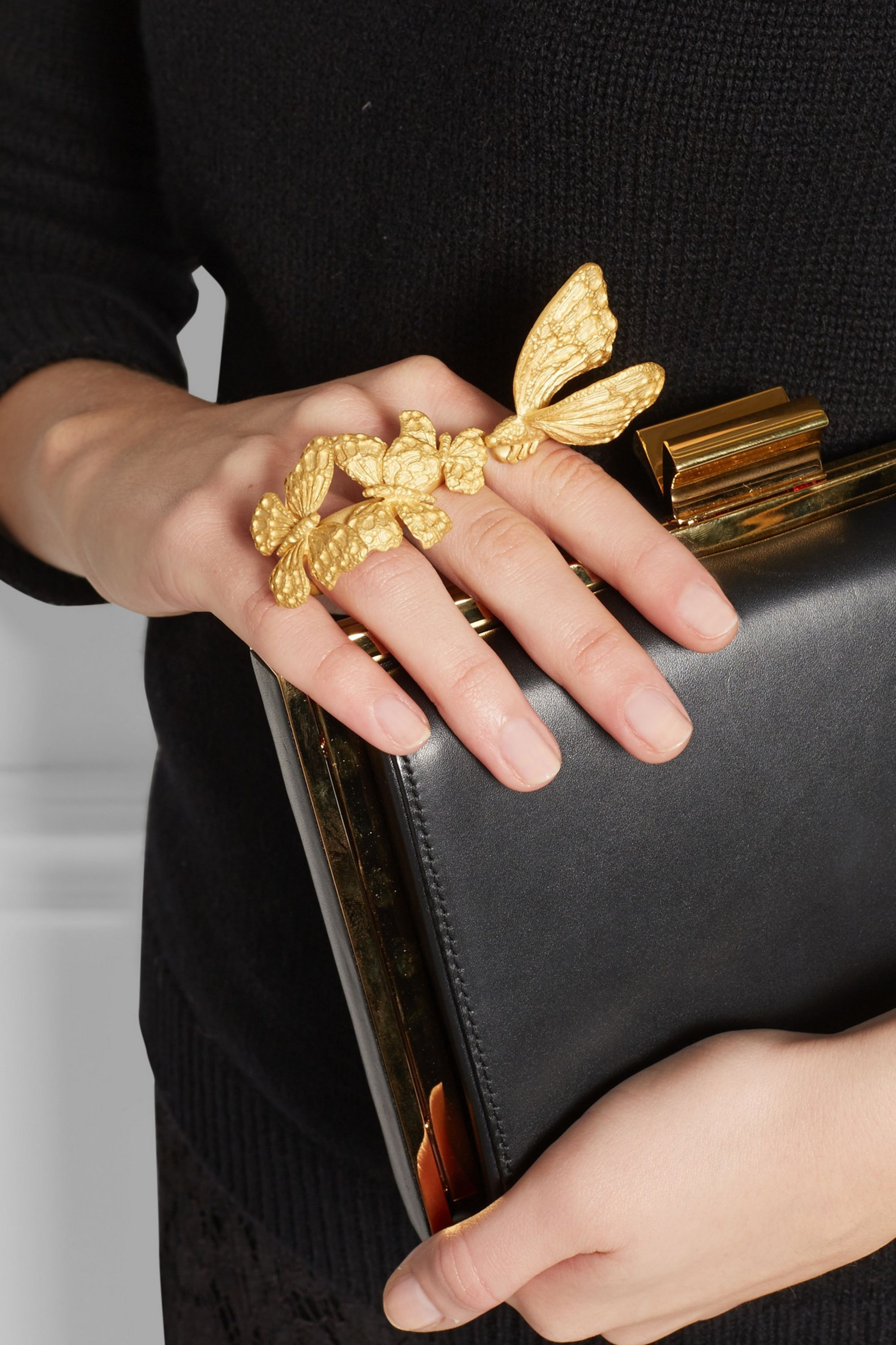 Valentino Gold-plated three-finger butterfly ring