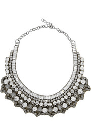 Valentino Silver-tone crystal necklace