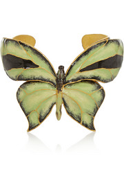 Enameled gold-tone butterfly cuff