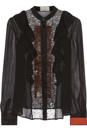 Preen by Thornton Bregazzi Bantha ruffled chiffon and lace blouse