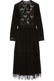 Preen by Thornton Bregazzi Beaded lace and chiffon midi dress