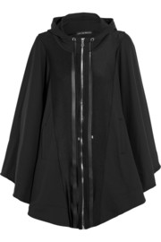 Satin-paneled stretch-jersey hooded cape