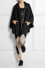 Live The Process Satin-paneled stretch-jersey hooded cape