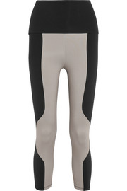 Paneled stretch-jersey leggings