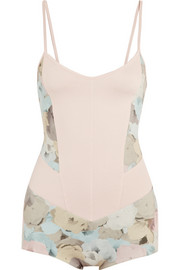 Floral-print stretch-jersey leotard