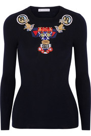 Mary Katrantzou Embellished ribbed wool sweater
