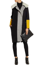Finds + Paper London Ara shearling-trimmed wool-blend felt coat