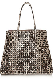 Petal laser-cut python and leather tote