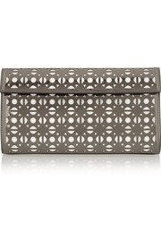 Etoile metallic laser-cut leather clutch