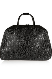Croc-effect leather travel trolley