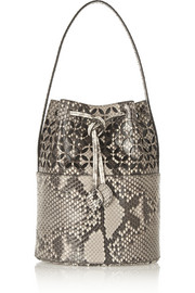 Laser-cut python and leather bucket bag